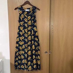 VTG Maxi Garden Sundress Jody California Sunflower